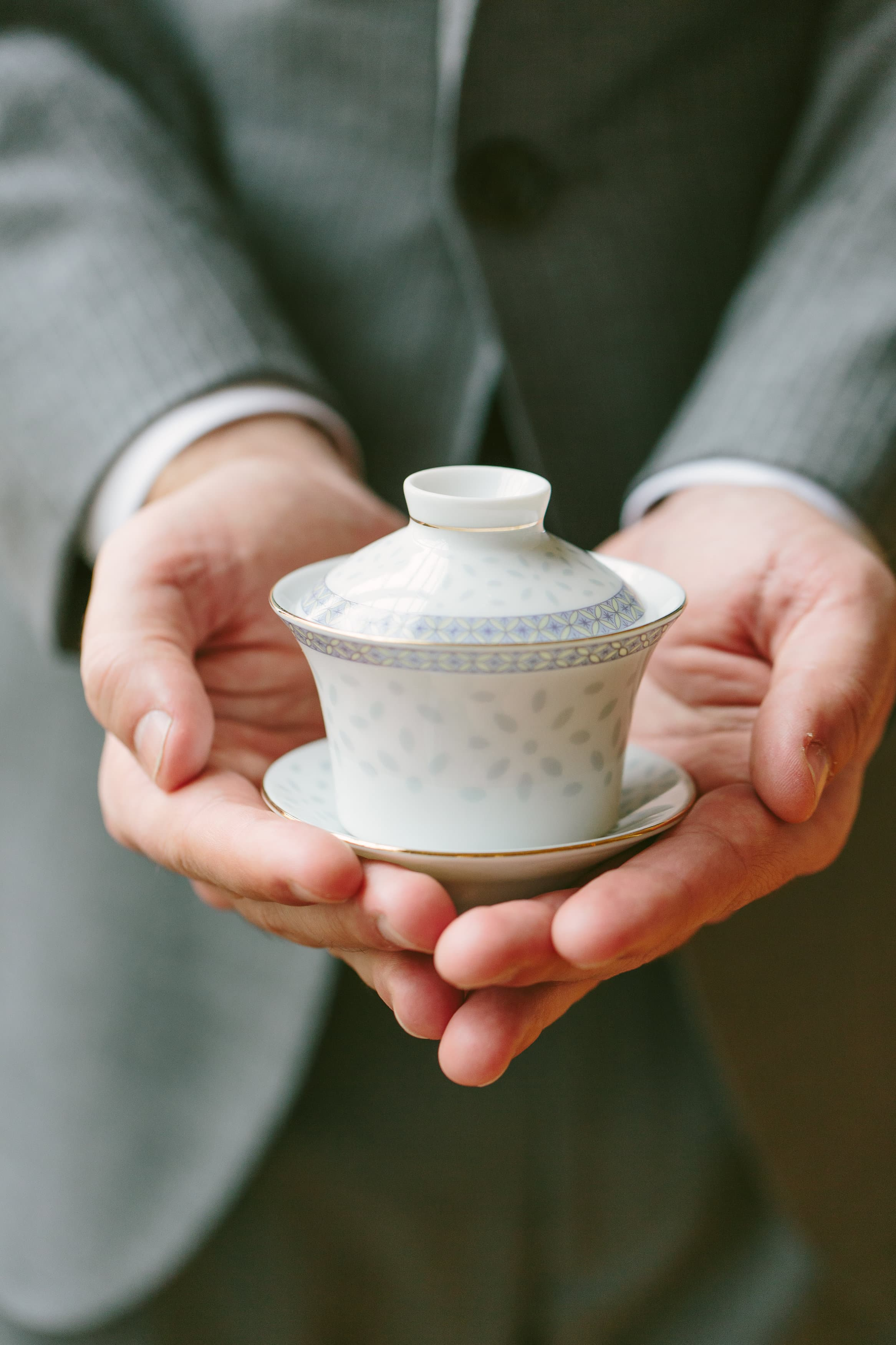 Tony holding the wedding gaiwan