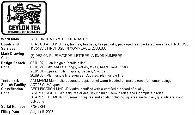 Ceylon (Sri Lanka) Tea Trademark