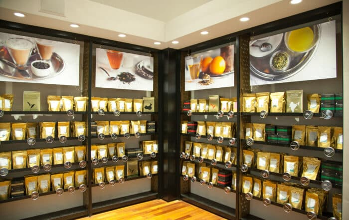 American Tea Room Beverly Hills Interior Shot and Tea Wall